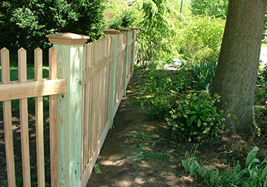 Pine treated picket fence